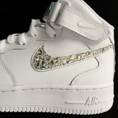 a2a843cf11139 Swarovski Nike Air Force 1 Mids by Elisha Francis London |  www.elishafrancis.com