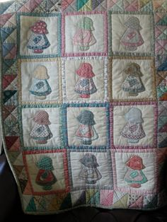 Vintage Quilted Wall Hanging SUNBONNET SUE in by TessieTextile, $35.00