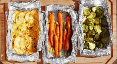 Foil packets are a campfire-inspired trick for making every part of dinner on the grill. Here's an easy how-to for brussels sprouts with theme and garlic, carrots with cumin, ginger and honey, and potatoes with parmesan, garlic, and rosemary.