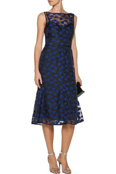 Shop on-sale Lela Rose Fluted embroidered organza midi dress. Browse other discount designer Dresses & more on The Most Fashionable Fashion Outlet, THE OUTNET.COM