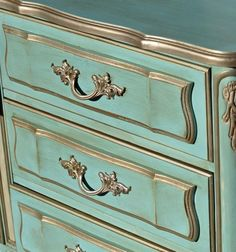 Painted French Dresser in American Paint Company Surfboard and Home Plate by Vintage Charm Restored Refurbished Furniture, Paint Furniture, Repurposed Furniture, Furniture Makeover, Vintage Furniture, Decoupage Furniture, Metallic Painted Furniture, French Furniture, French Dresser