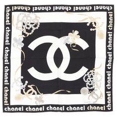 Chanel Black Print Silk Scarf Handkerchief   Vestiaire Collective Foulard  Chanel, Robe Chanel, Styles ca43330fae5