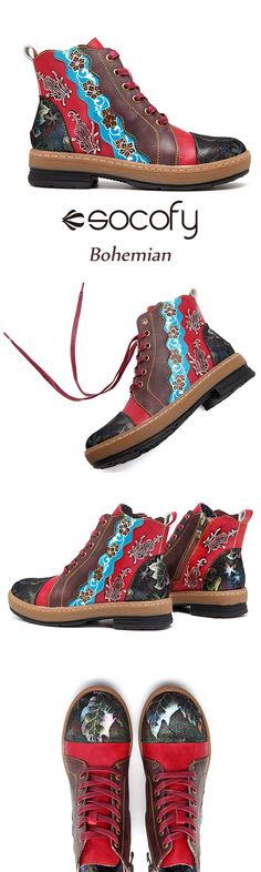 US$55.36   SOCOFY Bohemian Splicing Flower Pattern Ankle Flat Leather Boots