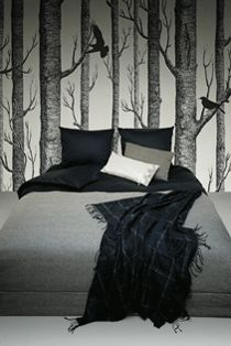 woodland birch wallpaper - kinda like the crows in it too