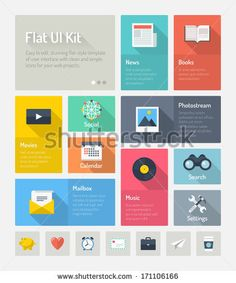 Flat design modern vector illustration concept of minimalistic stylish infographic webpage elements with icons set or abstract metro user interface kit with simple navigation for web project. - stock vector