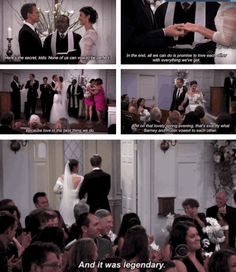 Barney and Robin got married and it was legendary! How I Met Your Mother (I will admit this made me cry) Wedding Vows That Make You Cry, Barney And Robin, Marshall And Lily, Funny Watch, Himym, Tv Couples, How I Met Your Mother, I Meet You, Gossip Girl