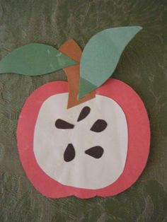Apple Craft--seed counting, put a number on the leaf.