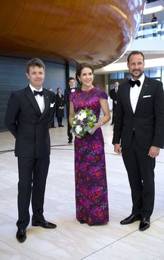 (L-R)Danish Crown Prince Frederik, Crown Princess Mary and Crown Prince Haakon of Norway attend the celebration of the Norwegian Constitutional Bicentenary at the Copenhagen Opera House in Denmark on 23.05.2014.