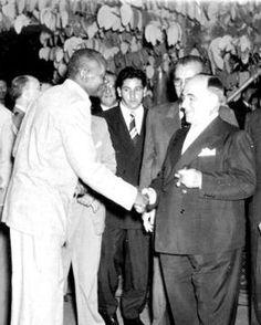 "Mestre Bimba meeting the then president of Brazil, Getulio Dorneles Vargas. Manoel dos Reis Machado, commonly called Mestre Bimba (Portuguese pronunciation: [ˈmɛstɾi ˈbĩbɐ]; November 23, 1899 – February 5, 1974), was a mestre (a master practitioner) of the Afro-Brazilian martial art of ""capoeira"". #brazilportuguese"