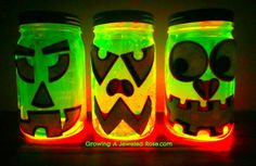 Glowing pumpkin jars