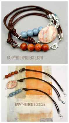DIY Leather Bead Bracelet Tutorial from Happy Hour Projects.... (True Blue Me and You: DIYs for Creative People)