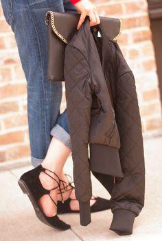 hm bomber jacket // black lace up flats // current elliott boyfriend jeans // envelope clutch // Cheers J
