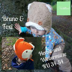 Mützen-Freebook Bruno&Foxi by Nähkind ..... 2 Waldtierchen sind los! Nähe Deinem Schatz eine warme Mütze für Herbst oder Winter! die Mütze gibt es in 2 Varianten für einenKopfumfang von 34-54cm. Die Mütze ist doppellagig und auch für Nähanfän