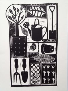 Been sorting lino prints and cutting new ones.