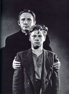 Spencer Tracy and Mickey Rooney in Boys Town, a movie once seen, never forgotten.