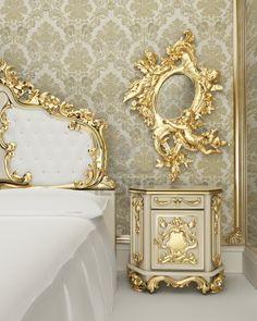 Muebles de estilo barroco con decoración vegetal en forma de suaves curvas y rizos