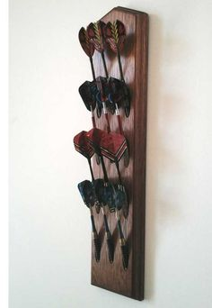 Handcrafted Mahogany Wood Dart Holder Wall Mount Display Rack. Game Room & Man Cave Decor. Dart Holders available Stained or Unfinished.