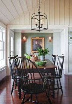 Dining room: Windsor chairs, lantern chandelier