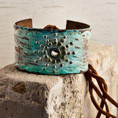 Leather Bracelet Cuff Spring Accessories OOAK by rainwheel on Etsy, $35.00