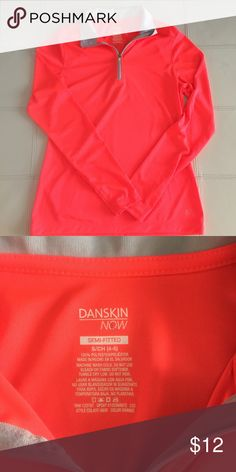 DANSKIN NOW Semi-Fitted Shirt Size Small Long sleeve DANSKIN NOW shirt in a size Small. New without tag attached! Bright, neon orange color. Can be worn before, during or after a workout. Great, comfortable and soft fit. Danskin Now Tops