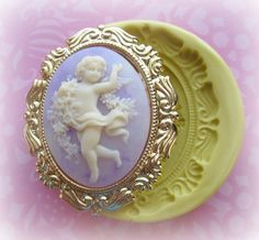 Cherub Mold Christmas Frame Silicone Flexible Clay by Molds4You, $8.95