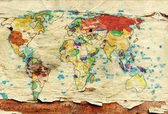 Best Maps Images On Pinterest Canvas Prints Photo Canvas - 36 x 48 world map