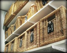 DIY chalkboard tags for laundry room baskets.