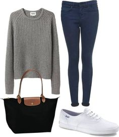 i love the pants! and the keds add a super casual feel to the fancier sweater! change the bag for a backpack and bam! You have a school outfit! :)