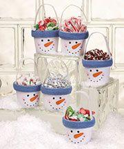 Snowman treat buckets