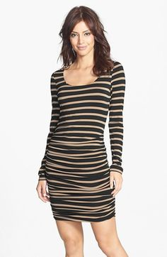 striped long-sleeve dress