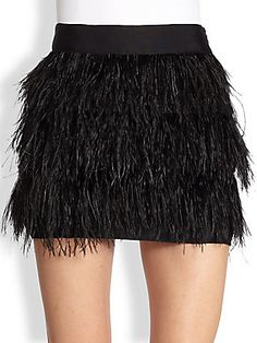 MILLY Silk+Feather+Mini+Skirt. Can I recreate this with fringe trim?