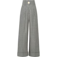 Petar Petrov Houndstooth wool wide-leg pants (£378) ❤ liked on Polyvore featuring pants, bottoms, trousers, jeans, petar petrov, wool pants, oversized pants, wool trousers and houndstooth pants