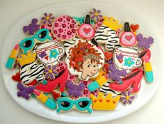 Redheaded princess adorableness cookie platter with crowns, lipstick, nail polish, heels, sunglasses and more!
