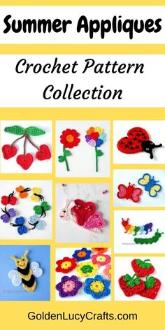 Summer is almost here and in this post you will find a collection of summer crochet applique patterns. Here you will find butterflies (three different designs, as you can't imagine summer without butterflies!), berries, flowers and more! Diy Crochet Projects, Crochet Crafts, Diy Projects, Diy Crafts, Crochet Ideas, Crochet Appliques, Crochet Motif, Crochet Patterns, Cute Crochet