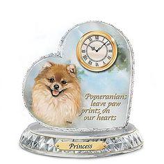 Pomeranian Wood Wall Clock Plaque Brn