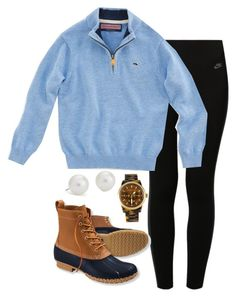 """""""Bean boots"""" by keileeen ❤ liked on Polyvore featuring NIKE, Vineyard Vines, L.L.Bean, Blue Nile and Michael Kors"""