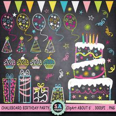 You will receive : - 43 Birthday party images - about 6 at full size - 300 dpi High Resolution PNG File  Chalkboard Doodles, Blackboard Art, Chalkboard Writing, Chalkboard Lettering, Chalkboard Designs, Birthday Party Clipart, Birthday Clips, Art Birthday, Balloon Birthday