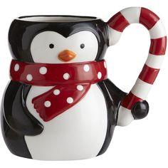Pier 1 Imports Penguin Mug ($4.88) ❤ liked on Polyvore featuring home, kitchen & dining, drinkware, christmas, accessories, food, mugs, fillers, christmas drinkware and pier 1 imports