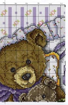 Joan Elliott '' Cross stitch TEDDIES ''Cozy Bears