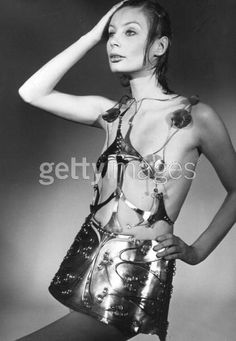 27th January 1971: A seventies fashion model wearing an aluminium dress by designer Emmanuel Ungaro. (Photo by Evening Standard/Getty Images)