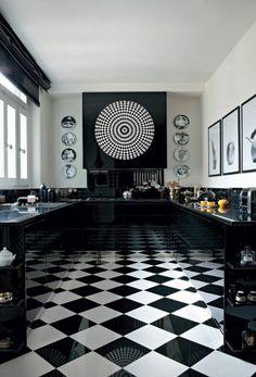 Carrelage Damier Noir Et Blanc, Cuisine En Noir Et Blanc