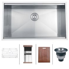 "32"" Roma Undermount Stainless Steel Single Bowl Kitchen Sink by Ruvati...includes prep basket strainer, cutting board, rinse grid and drain with basket strainer $850.00 - great alternative to Kohler Stages"