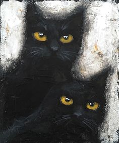 Original abstract acrylic painting on stretched canvas. Black Cat Painting, Owl, Tuxedo Cats, Bird, The Originals, Abstract, Canvas, Art Ideas, Animals