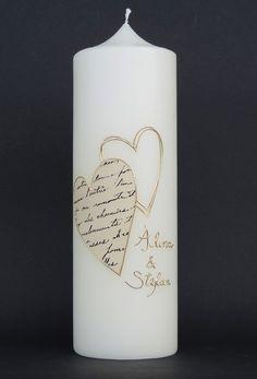 """Hochzeitskerzen  Beleuchtung - Hochzeitskerze """"Zwei Herzen"""" - ein Designerstück von claudia-slanzi bei DaWanda"""