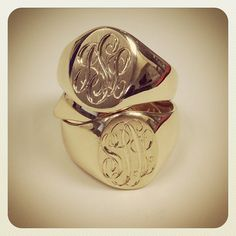 hand-engraved gold signet rings. Love this chunky look.