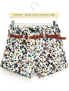 Multicolor Geometric Print Straight Shorts US$23.26