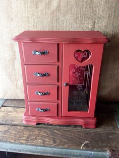 Red vintage jewelry box, upcycled, eco friendly on Etsy, $45.00