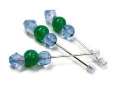 #Counting Pins, Marking Pins, Cross Stitch, Needlepoint, Mint Green, Ice Blue, DIY Crafts, TJBdesigns