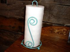Upcycled Turquoise Metal Paper Towel Holder  by StrawberryFieldsCo, $25.00