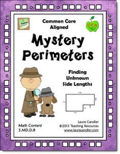 Free-Mystery Perimeters Freebie from Laura Candler's Common Core Math Resources page Math Teacher, Math Classroom, Teaching Math, Teaching Ideas, Teacher Binder, Classroom Decor, Math Strategies, Math Resources, Math Activities